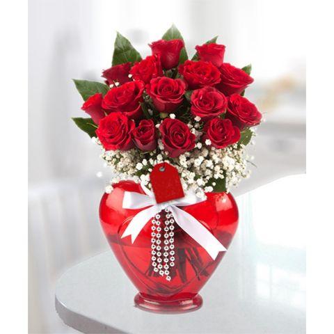 Kalpli vazo gül 15 adet